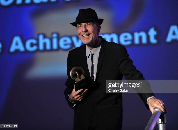 Musician Leonard Cohen receives the Lifetime Achievement Award at the 52nd Annual GRAMMY Awards Special Merit Awards and Nominee Reception at The...