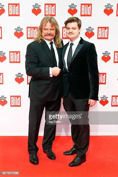 Musician Leslie Mandoki and his son Gabor Mandoki attend the Ein Herz Fuer Kinder gala on December 3, 2016 in Berlin, Germany.