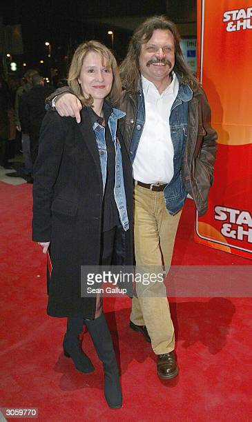 "Musician Leslie Mandoki and his wife attend the European premiere of ""Starsky And Hutch"" on March 9, 2004 in Munich, Germany."