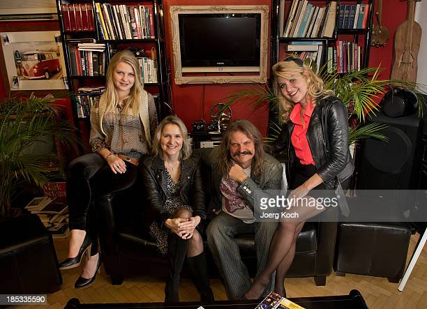 Musician Leslie Mandoki, his wife Eva and daughters Julia and Lara pose during a get-together for the launch of Mandokis new Album 'BudaBest' on...