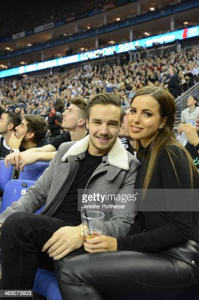 Musician Liam Payne of One Direction takes in the game of the Brooklyn Nets against the Atlanta Hawks as part of the 2014 Global Games on January 16...