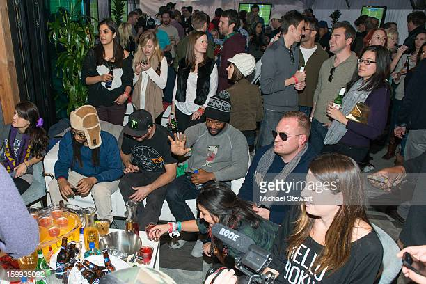 Musician Lil Jon Ken Block and Sal Masekela and guests attend Paige Hospitality Game Watch at Sky Bar on January 20 2013 in Park City Utah