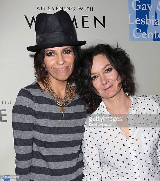 Musician Linda Perry and actress Sara Gilbert attend An Evening with Women kickoff concert presented by the LA Gay Lesbian Center at The Roxy Theatre...