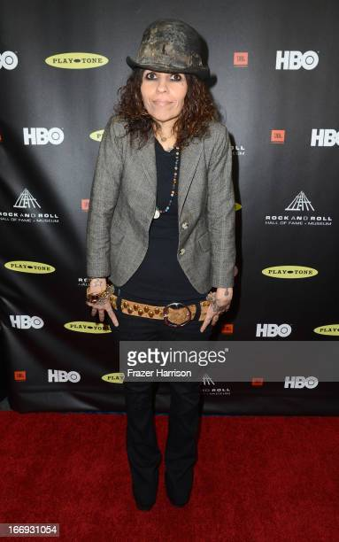 Musician Linda Perry attends the 28th Annual Rock and Roll Hall of Fame Induction Ceremony at Nokia Theatre LA Live on April 18 2013 in Los Angeles...