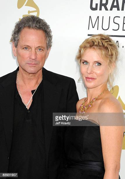 Musician Lindsey Buckingham of Fleetwood Mac and Kristen Messner arrives to the Grammy Nominations Concert LIVE held at the Nokia Theatre LA LIVE on...
