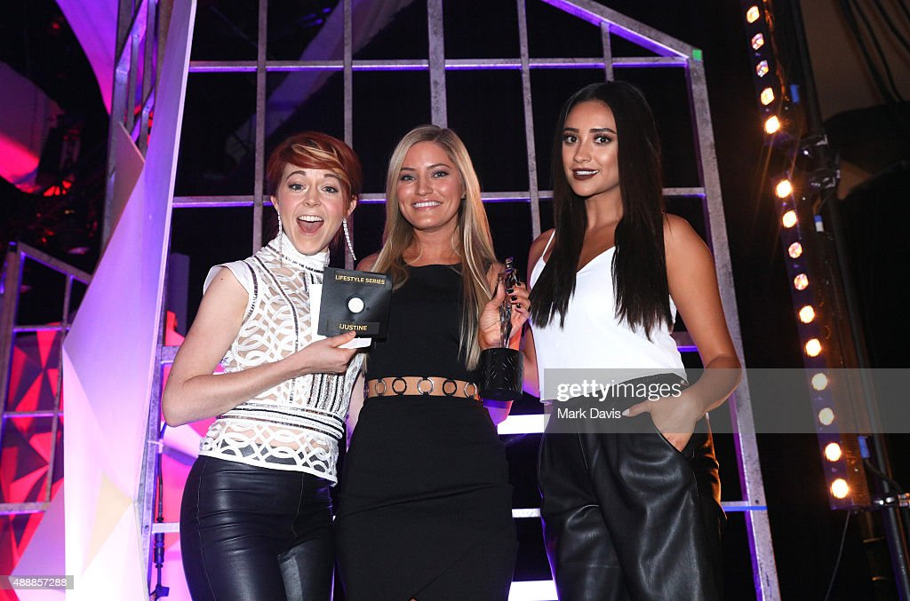 Musician Lindsey Stirling, Justine Ezarik, and Shay Mitchell attend VH1's 5th Annual Streamy Awards at the Hollywood Palladium on Thursday, September 17, 2015 in Los Angeles, California.