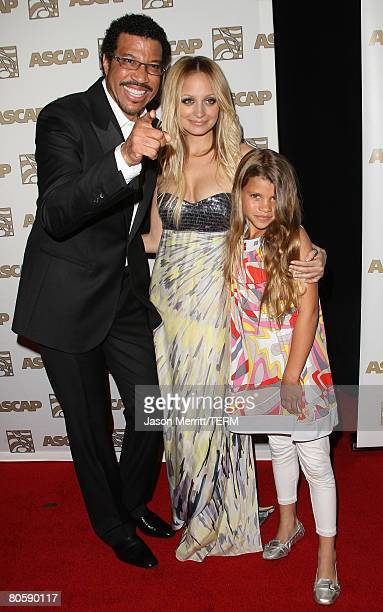 Musician Lionel Richie and daughters Nicole Richie and Sophia Richie arrive at the 2008 ASCAP Pop Awards at the Kodak Theatre on April 9, 2008 in...