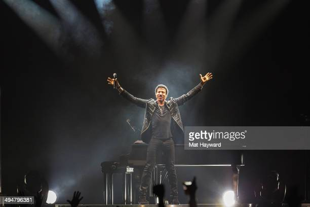 Musician Lionel Richie performs on stage during the 'All The Hits All Night Long Tour' at KeyArena on May 30 2014 in Seattle Washington