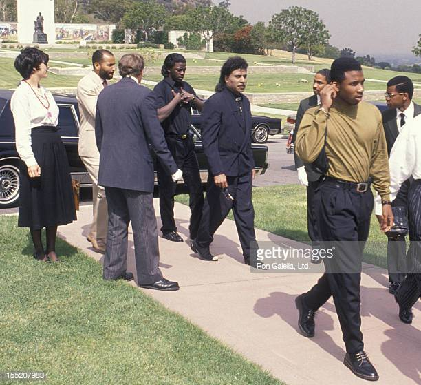 Musician Little Richard attends Sammy Davis Jr Funeral Service on May 18 1990 at Forest Lawn Memorial Park in Los Angeles California