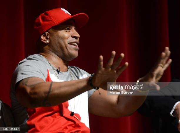 Musician LL Cool J speaks at a panel discussion at the premiere of The Recording Academy's 'A Death In The Family The Show Must Go On' at the Leonard...