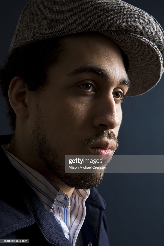 Musician looking away, close-up : Stockfoto