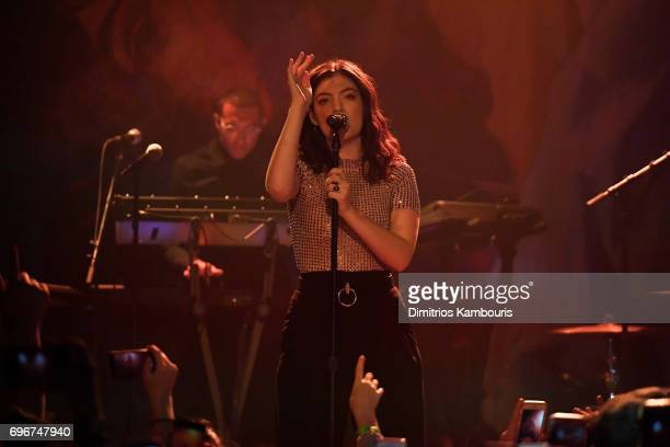 Musician Lorde performs onstage in celebration of the release of her new album 'Melodrama' for SiriusXM at Bowery Ballroom on June 16 2017 in New...