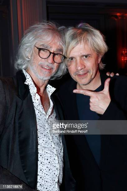 Musician Louis Bertignac and singer Nicola Sirkis attend the Stethos d'Or 2019 Charity Gala of the Foundation for Physiological Research at on March...