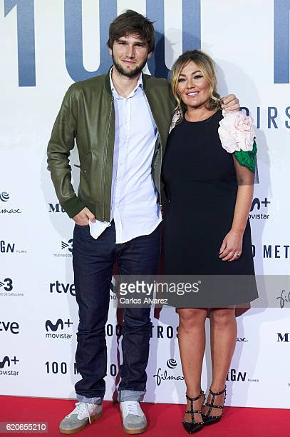 Musician Lucas Vidal and singer Amaia Montero attends '100 Metros' premiere at Capitol cinema on November 2 2016 in Madrid Spain
