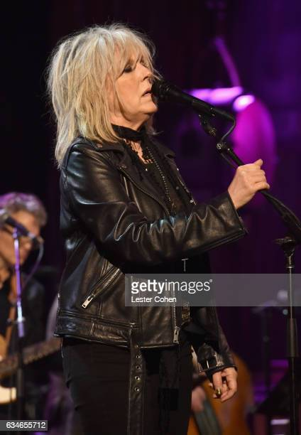 Musician Lucinda Williams performs onstage during MusiCares Person of the Year honoring Tom Petty at the Los Angeles Convention Center on February 10...