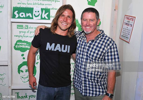 Musician Lukas Nelson and founder of fun footwear company Sanuk Jeff Kelley attend the grand opening of Sanuk's Flagship store with a jam sessions by...