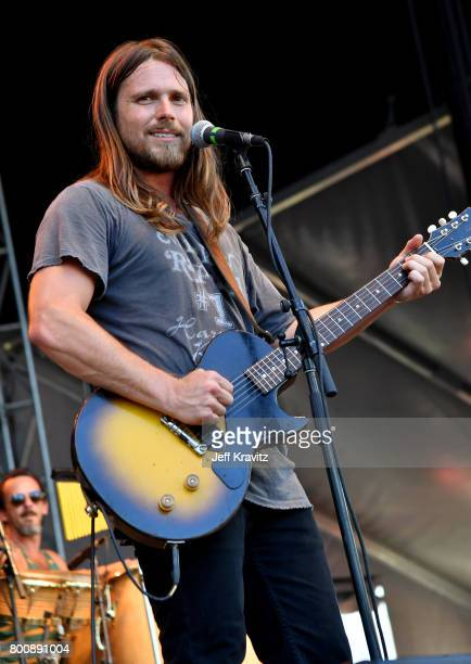 Musician Lukas Nelson of musical group Lukas Nelson Promise of the Real performs on the Sycamore stage during Arroyo Seco Weekend at the Brookside...