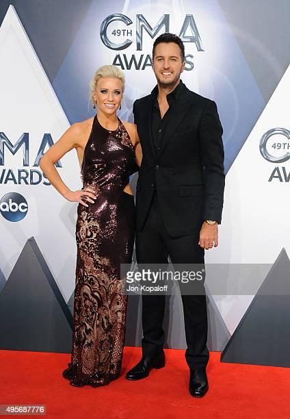 Musician Luke Bryan and wife Caroline Boyer attend the 49th annual CMA Awards at the Bridgestone Arena on November 4 2015 in Nashville Tennessee