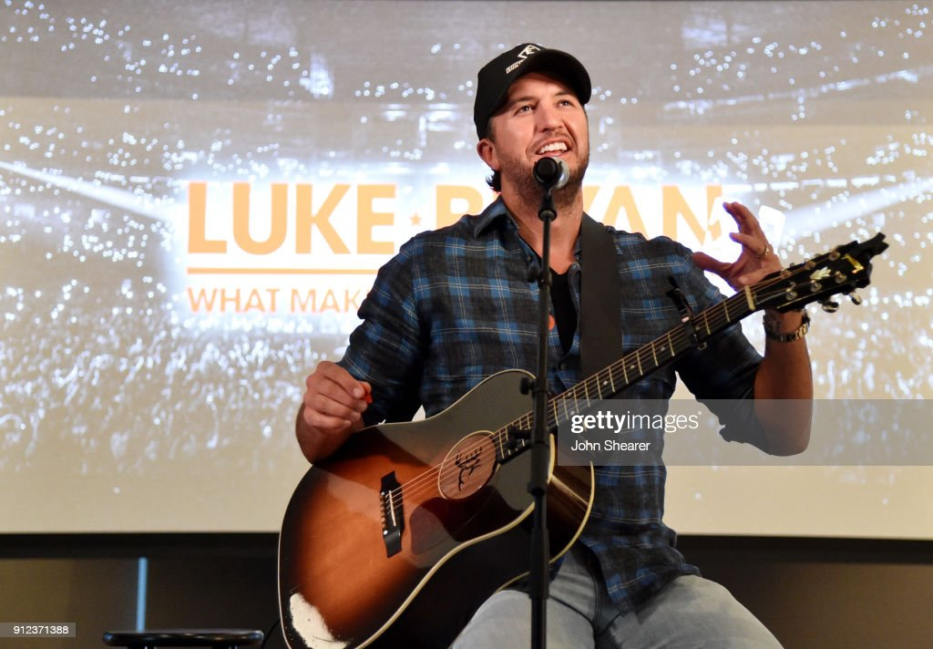 Musician Luke Bryan appears on stage at the announcement for his 'What Makes You Country' tour, at WME Nashville on January 30, 2018 in Nashville, Tennessee.