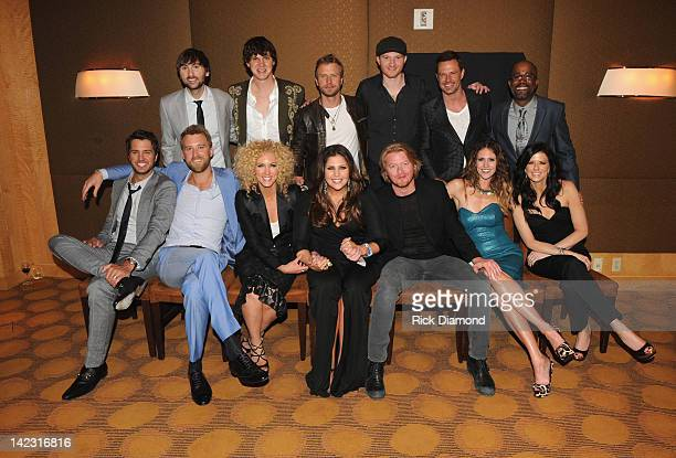Musician Luke Bryan musician Charles Kelley of Lady Antebellum musician Kimberly Schlapman of Little Big Town Hillary Scott of Lady Antebellum...