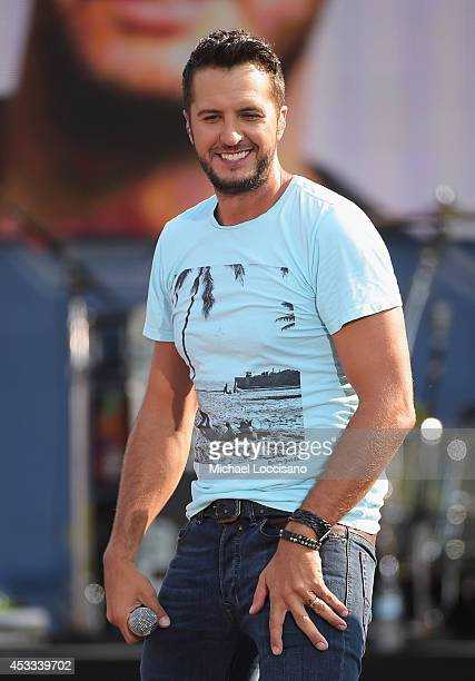 Musician Luke Bryan performs on ABC's 'Good Morning America' at Rumsey Playfield Central Park on August 8 2014 in New York City