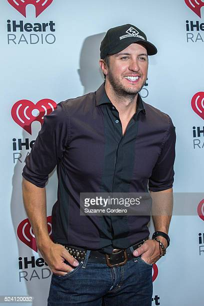 Musician Luke Bryan poses in the iHeartRadio Country Festival photo room at The Frank Erwin Center on March 29 2014 in Austin Texas