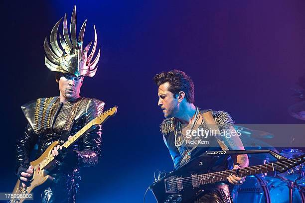 Musician Luke Steele of Empire of the Sun performs in concert during Bud Light Music First 50/50/1 at ACL Live on August 1 2013 in Austin Texas