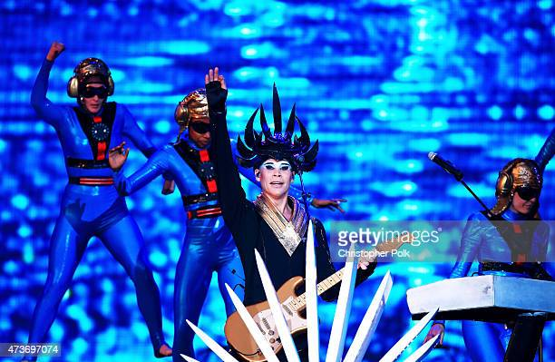 Musician Luke Steele of Empire of the Sun performs onstage during Rock in Rio USA at the MGM Resorts Festival Grounds on May 16 2015 in Las Vegas...