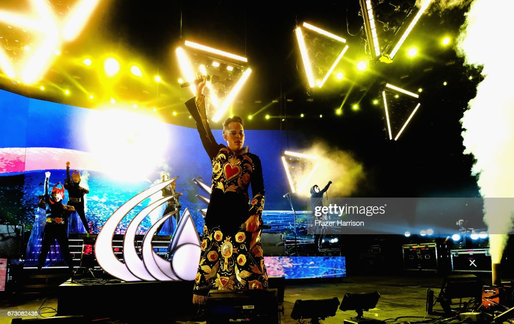 Musician Luke Steele of Empire of the Sunperforms in the Sahara Tent during day 3 (Weekend 2) of the 2017 Coachella Valley Music & Arts Festival