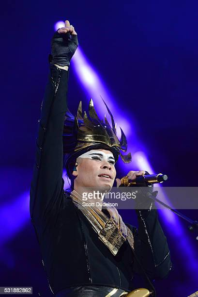 Musician Luke Steele of the band Empire of the Sun performs onstage during KROQ's Weenie Roast at Irvine Meadows Amphitheatre on May 14 2016 in...
