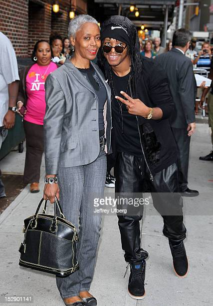 Musician Lupe Fiasco and his mother depart 'Late Show with David Letterman' at Ed Sullivan Theater on September 27 2012 in New York City