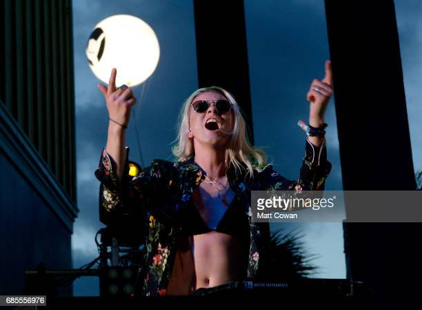 Musician Lyndsey Gunnulfsen of the band PVRIS performs at the Mermaid Stage during 2017 Hangout Music Festival on May 19 2017 in Gulf Shores Alabama