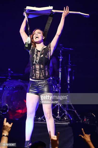 Musician Lzzy Hale of Halestorm performs at the 5th annual Revolver Golden Gods award show at Club Nokia on May 2 2013 in Los Angeles California