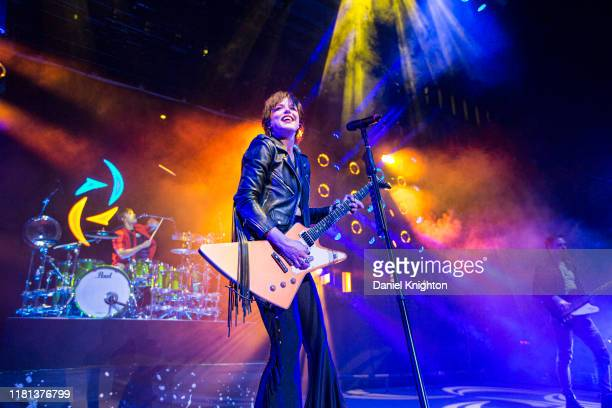 Musician Lzzy Hale of Halestorm performs on stage at Cal Coast Credit Union Open Air Theatre on October 15 2019 in San Diego California
