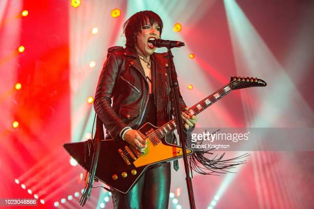 Musician Lzzy Hale of Halestorm performs on stage at Harrah's Resort Southern California on August 24 2018 in Valley Center California