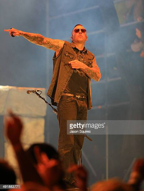 Musician M Shadows of Avenged Sevenfold performs during 2014 Rock On The Range at Columbus Crew Stadium on May 17 2014 in Columbus Ohio