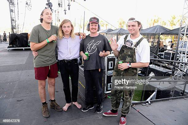 Musician Mac DeMarco and band pose onstage during day 3 of the 2015 Coachella Valley Music Arts Festival at the Empire Polo Club on April 12 2015 in...
