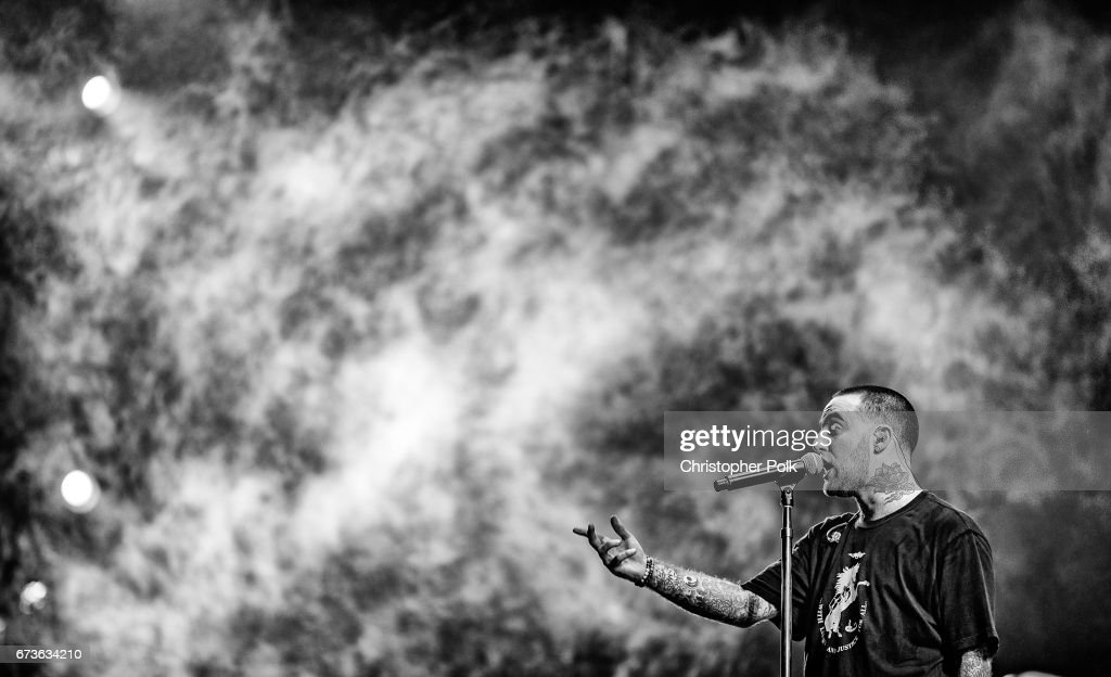 Musician Mac Miller performs onstage at the Sahara tent during day 1 of the Coachella Valley Music And Arts Festival (Weekend 1) at the Empire Polo Club on April 14, 2017 in Indio, California.pril 14, 2017 in Indio, California.