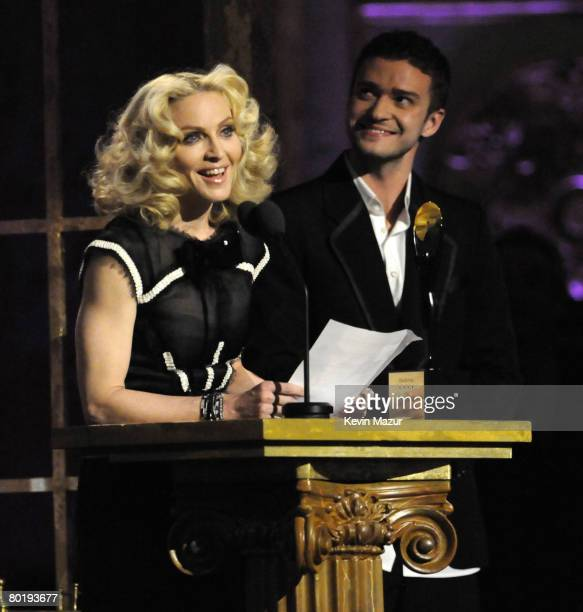 Musician Madonna and Musician Justin Timberlake on stage at the 23rd Annual Rock and Roll Hall of Fame Induction Ceremony on March 10, 2008 in New...