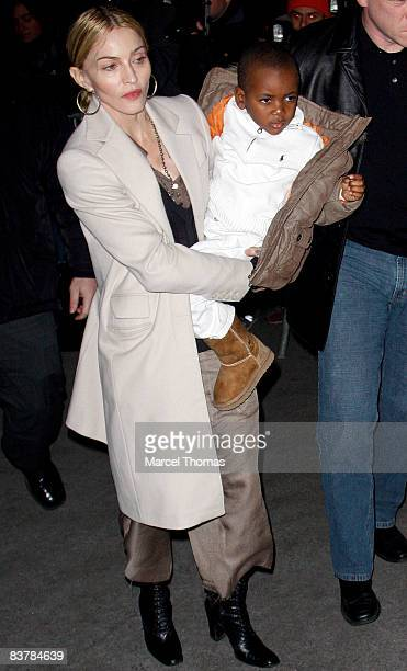 Musician Madonna and son David Banda arrive at the Kabbalah Center on November 21 2008 in New York City