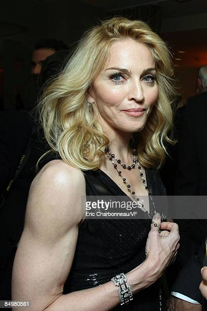 Musician Madonna attends the 2009 Vanity Fair Oscar party hosted by Graydon Carter at the Sunset Tower Hotel on February 22 2009 in West Hollywood...