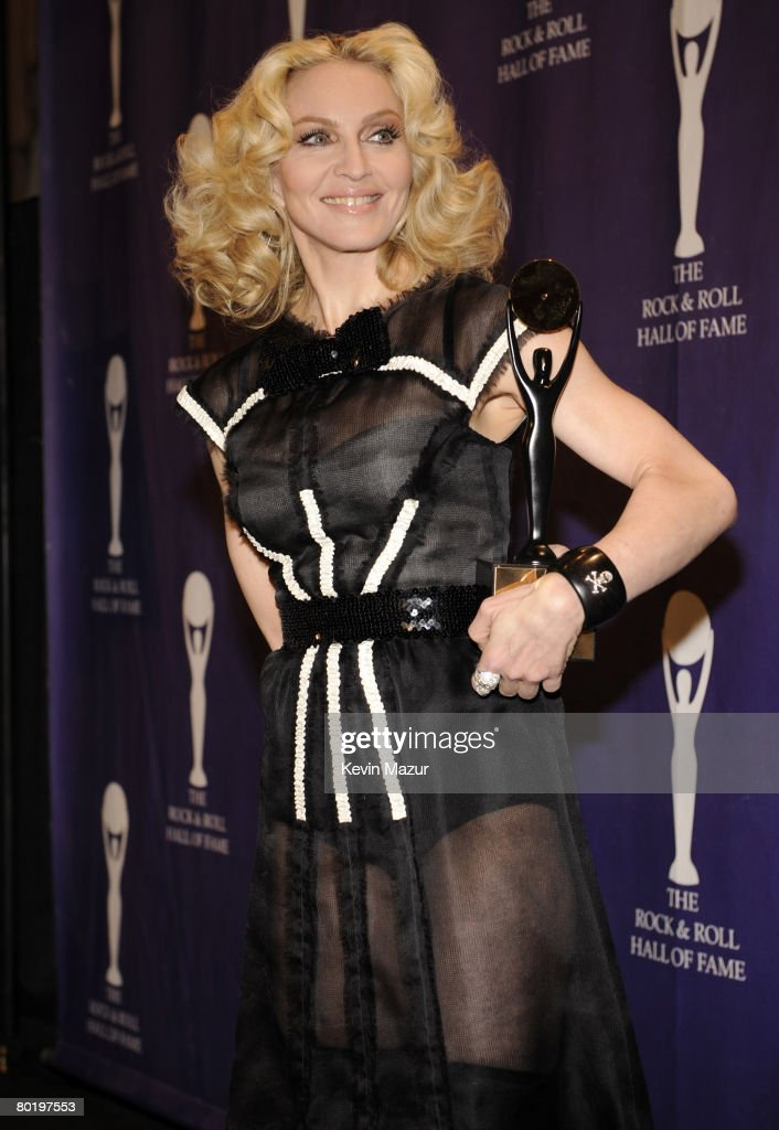 Musician Madonna poses in the press room at the 23rd Annual Rock and Roll Hall of Fame Induction Ceremony at the Waldorf Astoria on March 10, 2008 in New York City.
