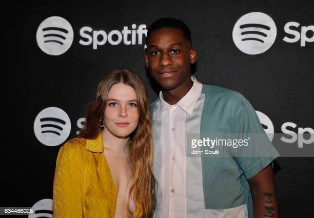 Musician Maggie Rogers and singer Leon Bridges attend the Spotify Best New Artist Nominees celebration at Belasco Theatre on 9, 2017 in Los Angeles,...
