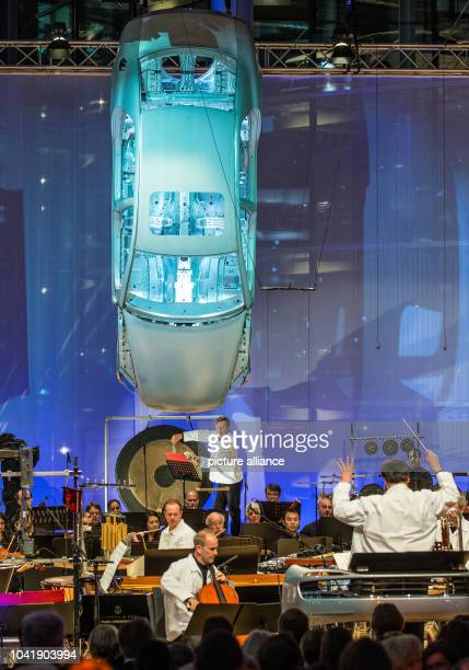 Musician Magnus Lindberg performs with the New York Philharmonic Orchestra under direction of Alan Gilbert at the VW Transparent Factory in Dresden...