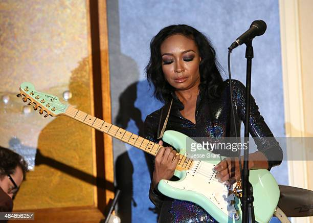 Musician Malina Moye attends the 2014 National Association of Music Merchants show at the Anaheim Convention Center on January 23 2014 in Anaheim...