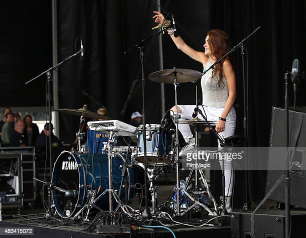 Musician Mandy Lee of MisterWives performs at the Lands End Stage during day 2 of the 2015 Outside Lands Music And Arts Festival at Golden Gate Park...