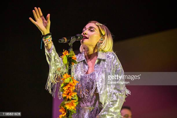 Musician Mandy Lee of Misterwives performs on stage at Pechanga Arena on November 05, 2019 in San Diego, California.