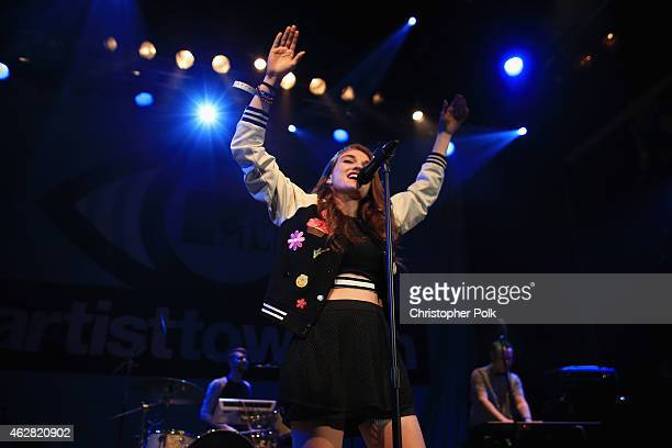 Musician Mandy Lee of MisterWives performs onstage during the MTV Artists to Watch at House of Blues Sunset Strip on February 5 2015 in West...