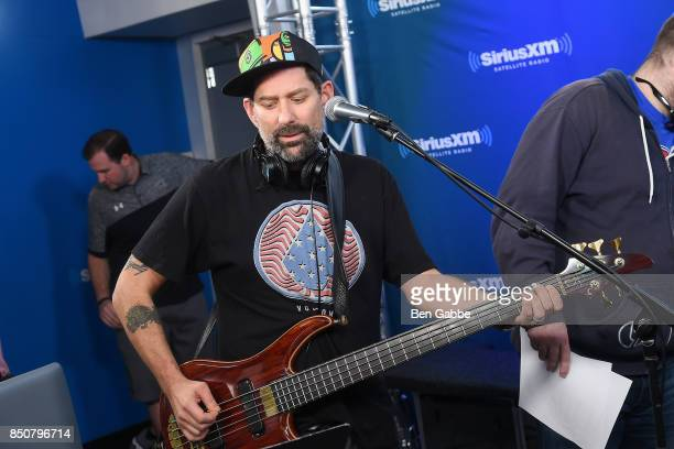 Musician Marc Brownstein of the Disco Biscuits prepares for a record at SiriusXM Studios on September 21 2017 in New York City