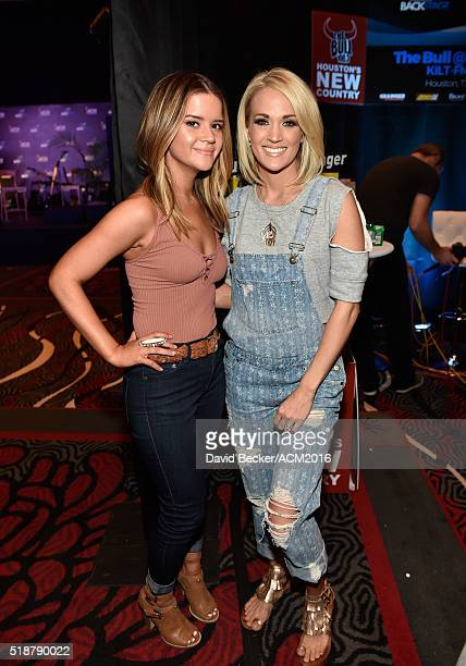 Musician Maren Morris and singer/songwriter Carrie Underwood attend Westwood One Presents #WWOBackstage @ 51st ACMs at MGM Grand Garden Arena on...